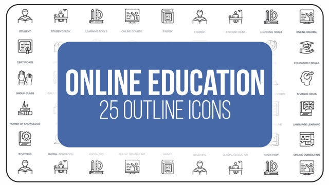 Online Education - 25 Outline Icons: After Effects Templates