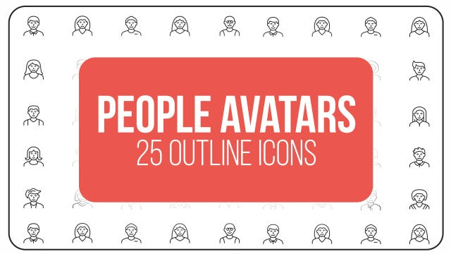 People Avatars - 25 Outline Icons: After Effects Templates