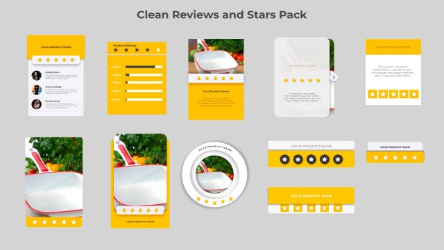 Clean Reviews And 5-Star Pack: After Effects Templates