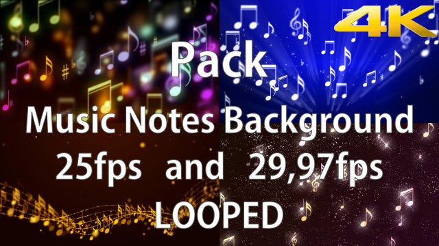 Music Notes Background Pack: Stock Motion Graphics