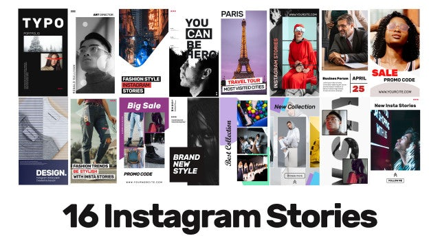 16 Instagram Stories V.2: After Effects Templates