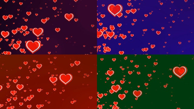 4 Backgrounds Hearts Loop: Stock Motion Graphics
