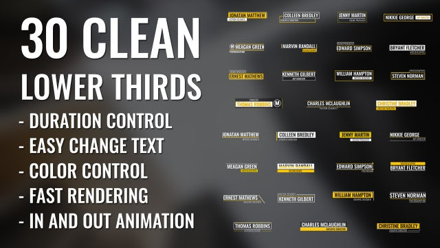 30 Clean Lower Thirds: After Effects Templates