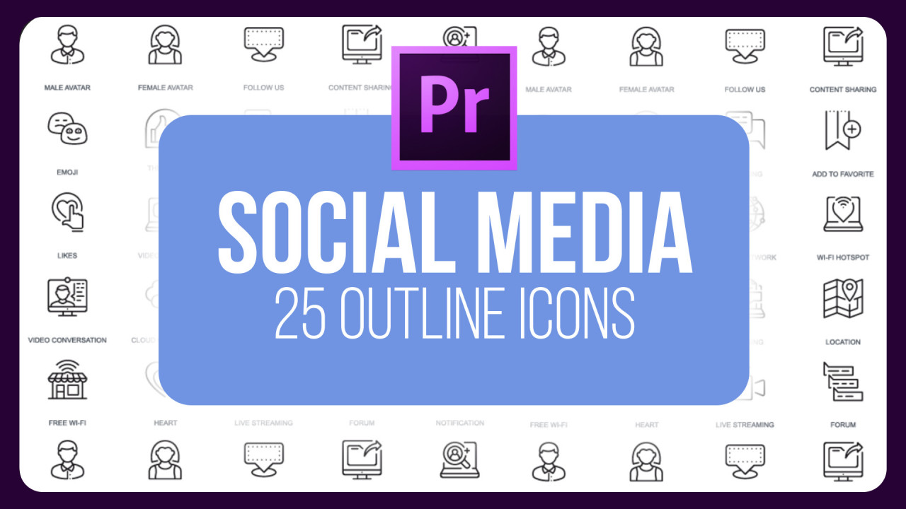 Social Media - 25 Outline Icons - Motion Graphics Templates