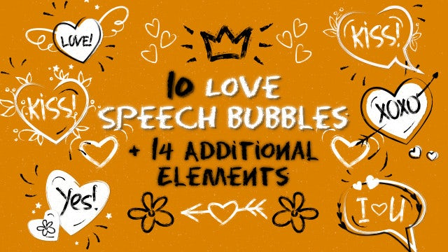 Romantic Pack: Speech Bubbles and Elements: Motion Graphics Templates