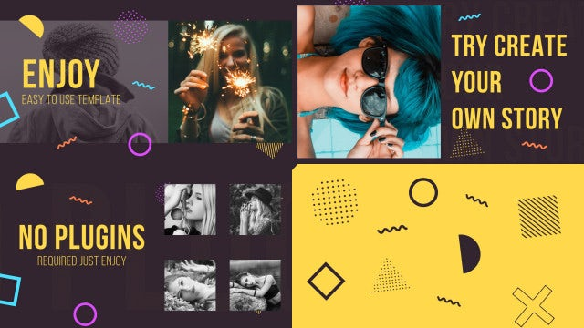Memphis Elements Slideshow: After Effects Templates