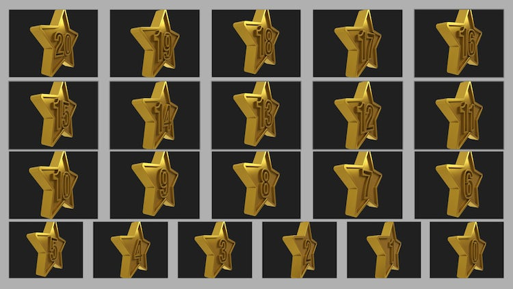 Gold Stars Numbers Transition: Stock Motion Graphics