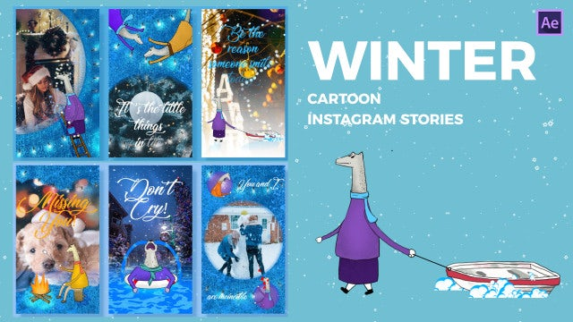 Winter Cartoon Instagram Stories: After Effects Templates