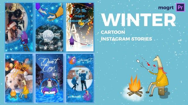 Winter Cartoon Instagram Stories: Motion Graphics Templates