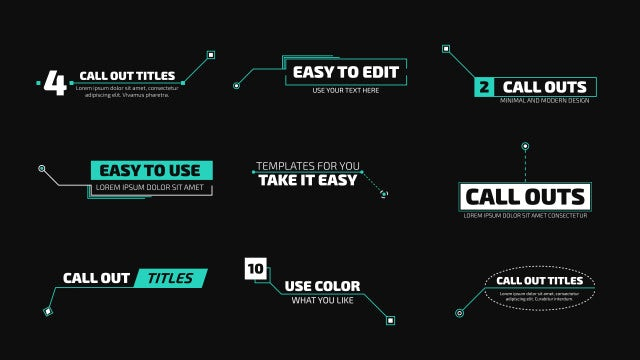 Modern Callout Titles 4k: Motion Graphics Templates