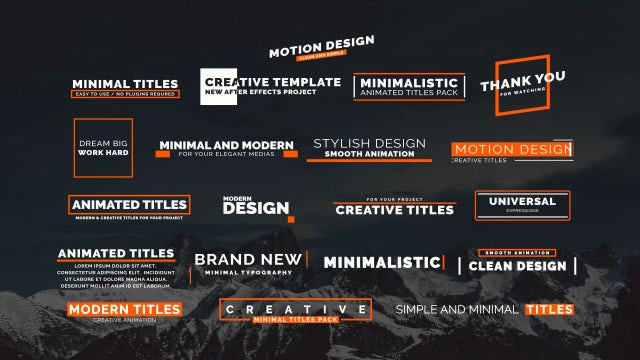 20 Animated Titles II: Motion Graphics Templates