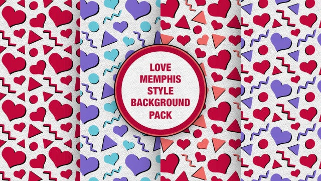 Love Memphis Style Background Pack: Stock Motion Graphics