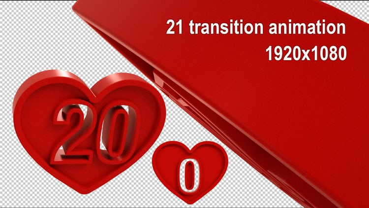 3D Heart Numerals Transition Pack: Stock Motion Graphics