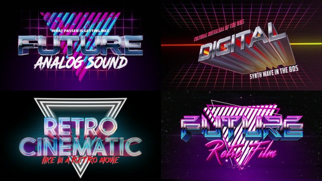 Retro Wave Logo Pack: After Effects Templates