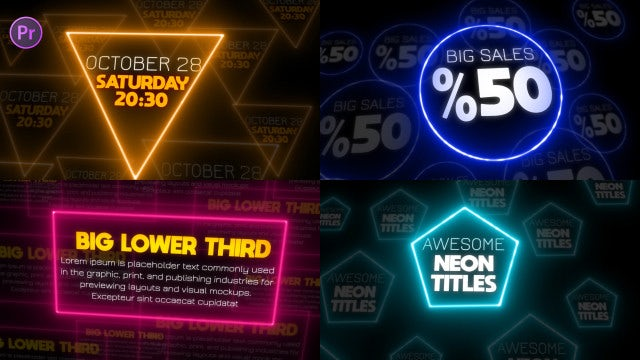 Neon Titles Animation Pack: Motion Graphics Templates
