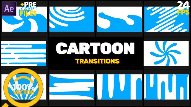 Cartoon Transition Pack: After Effects Templates