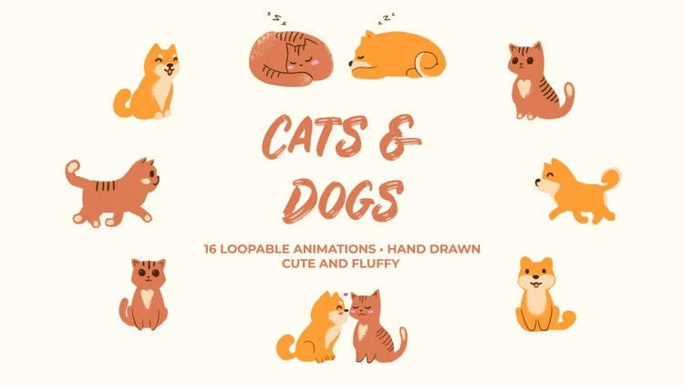 Cats And Dogs. Hand Drawn Pack: Stock Motion Graphics