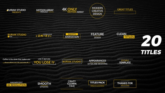 20 Titles & Lower Thirds 4k: Motion Graphics Templates