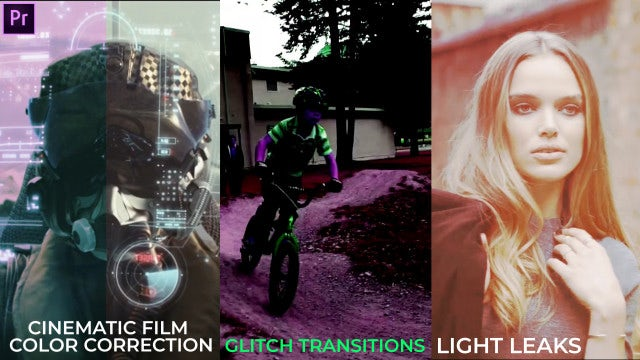 50 Pack: Light Leaks, Color, Glitch Transitions: Premiere Pro Presets