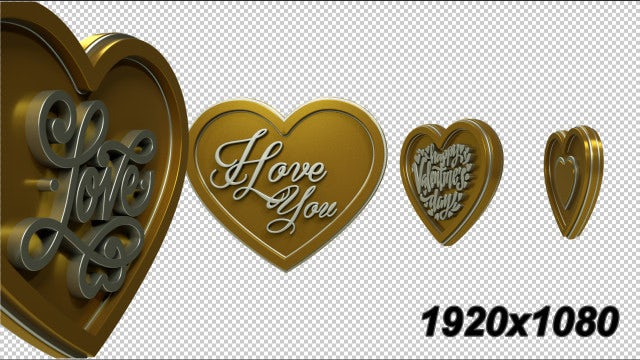 3D Gold Hearts Transition: Stock Motion Graphics