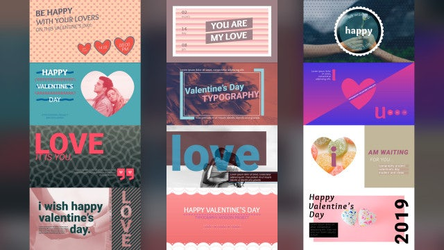 Valentine's Typography Scenes: After Effects Templates