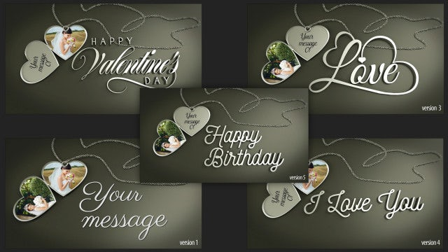 Heart Pendants And Messages: After Effects Templates