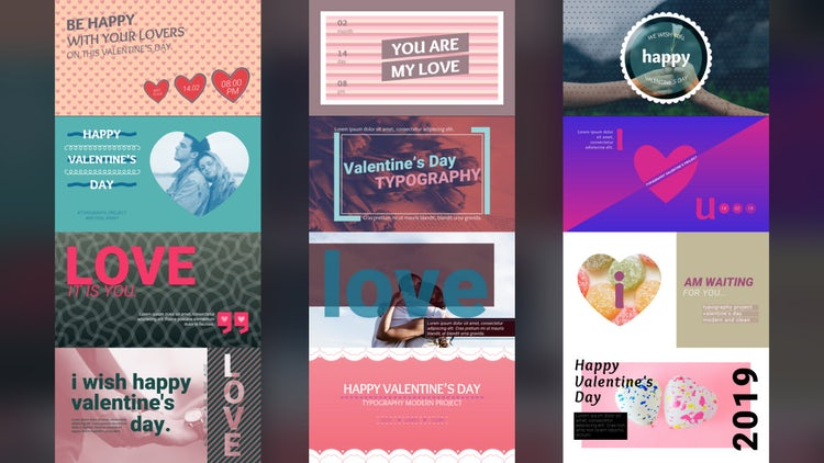 Valentine's Typography Scenes: Premiere Pro Templates