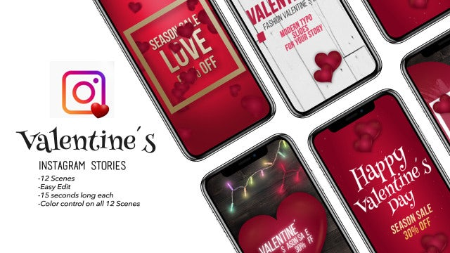 Valentine's Love Instagram Stories: After Effects Templates