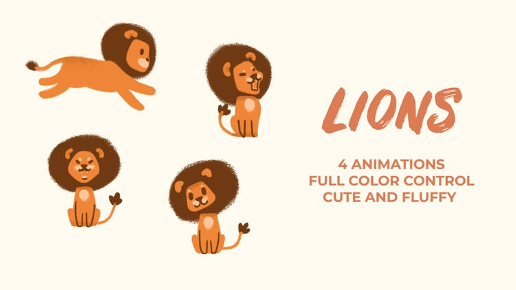 Lions. Hand Drawn Pack: Premiere Pro Templates