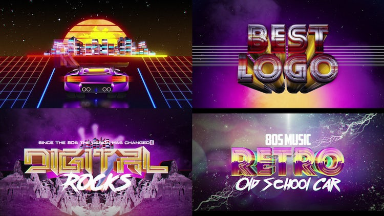 Retro Wave Logo Pack 2 - After Effects Templates | Motion Array