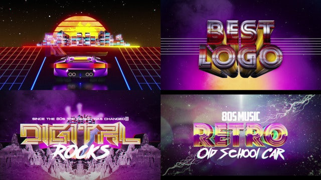 Retro Wave Logo Pack 2: After Effects Templates
