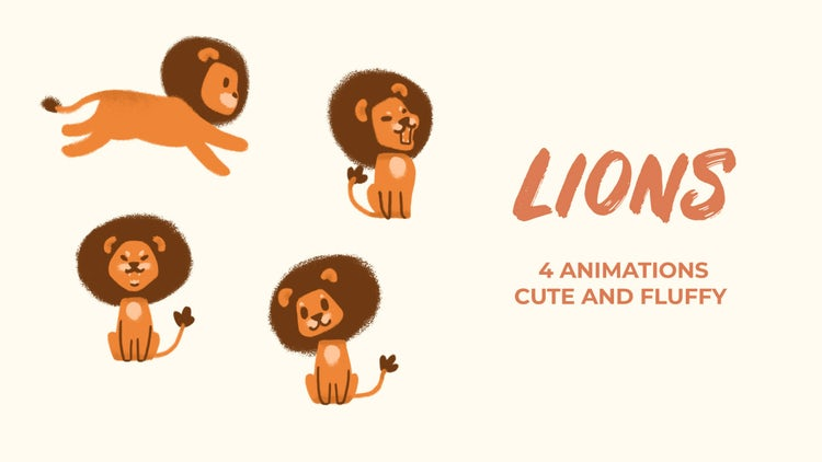 Lions. Hand Drawn Pack: Stock Motion Graphics