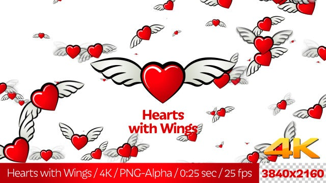 Cartoon Hearts With Wings: Stock Motion Graphics