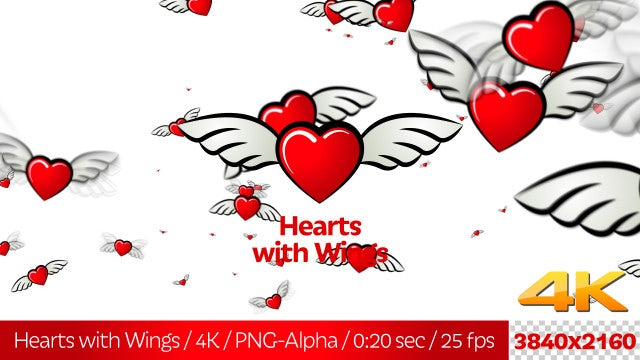 Hearts With Wings: Stock Motion Graphics