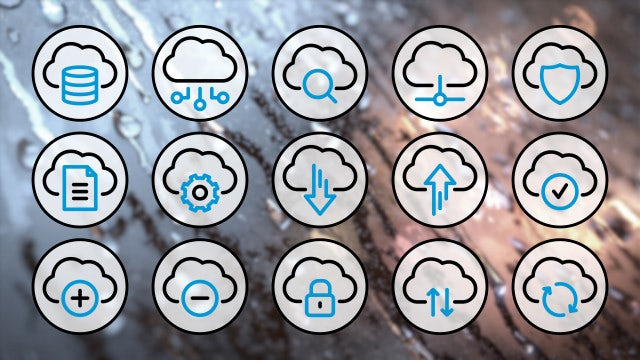 Computer Cloud Line Icons 4K: Stock Motion Graphics