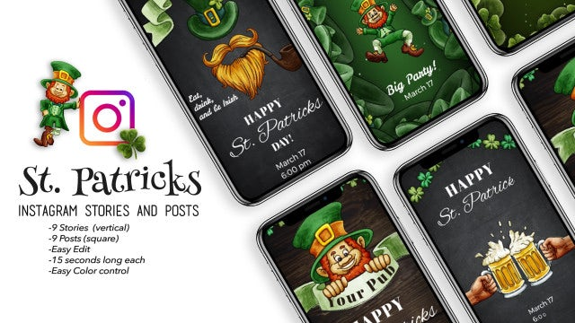 St. Patricks Instagram Stories And Posts: After Effects Templates
