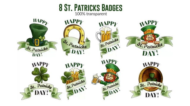 St. Patrick's Badges Pack: After Effects Templates