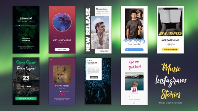 Music Instagram Stories: Motion Graphics Templates