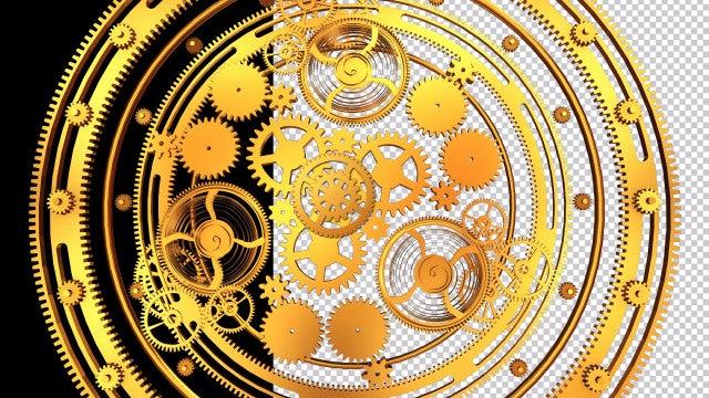 Gold Clockwork Gears Rotation: Stock Motion Graphics