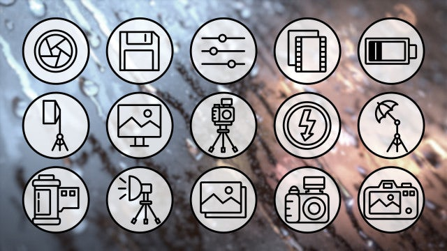 Photography Outline Icons 4K Pack: Stock Motion Graphics