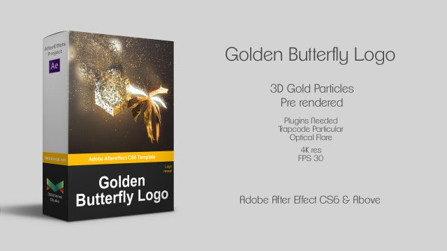 Neo Golden Butterfly Logo: After Effects Templates