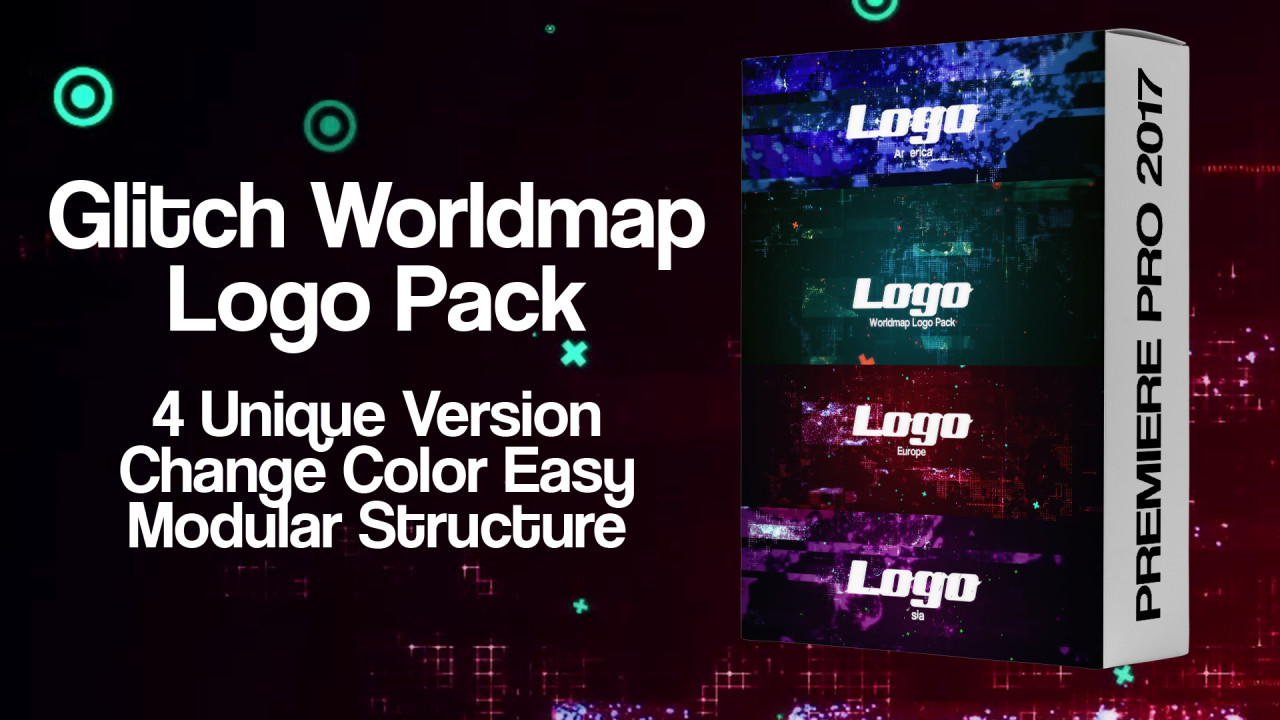 Glitch Worldmap Logo Pack 196121 + Music