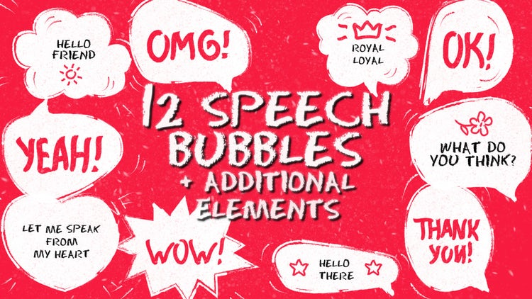 Funny Speech Bubbles And Elements Pack: Premiere Pro Templates