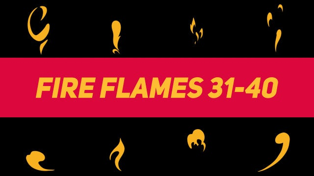 Liquid Elements Fire Flames 31-40: Motion Graphics Templates