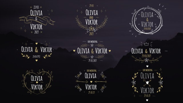 9 Elegant Wedding Labels: Premiere Pro Templates