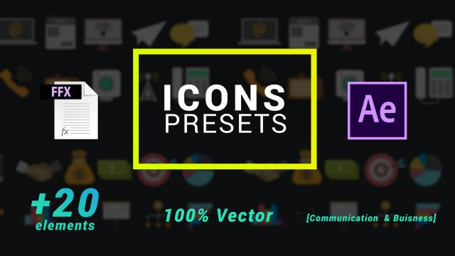 Icons Presets- Business And Communication: After Effects Presets