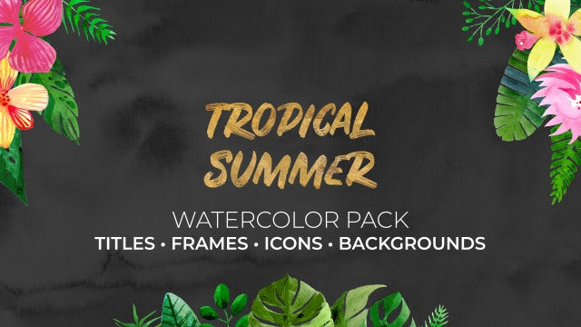 Tropical Summer. Watercolor Pack: After Effects Templates