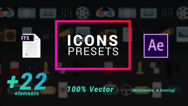 Icons Presets- Multimedia And Gaming: After Effects Presets