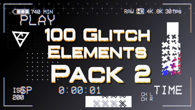 100 Glitch Elements Pack 2: After Effects Templates