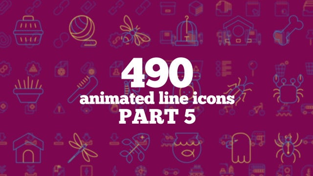 490 Animated Line Icons (Part 5): After Effects Templates